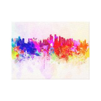 Doha skyline in watercolor background lona estirada galerias