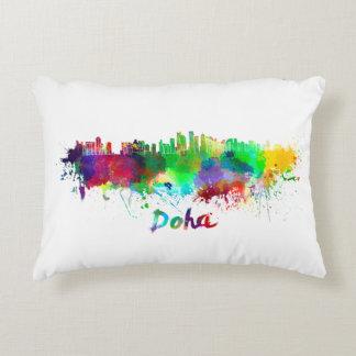 Doha skyline in watercolor decorative pillow