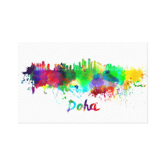 Doha skyline in watercolor splatters with clipping canvas print