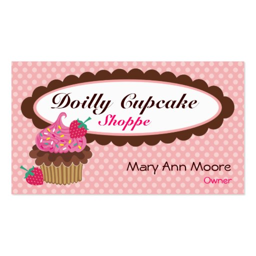 Doilly cupcake business cards zazzle for Cupcake business card