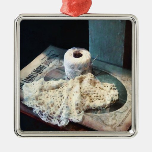 Doily and Crochet Thread Square Metal Christmas Ornament