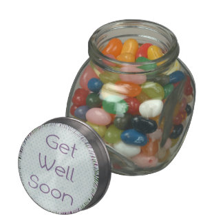 Doily Get Well Soon Jelly Belly Glass Jar