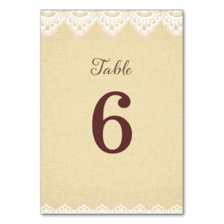 Doily Lace Rustic Wedding Table Number Card