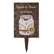 doily rustic mason jar  personalized cake picks