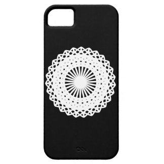Doily. White lace circle design. On Black. iPhone SE/5/5s Case