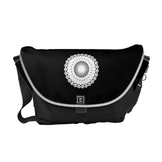 Doily. White lace circle design. On Black. Commuter Bags