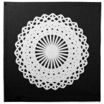 Doily. White lace circle design. On Black. Cloth Napkin
