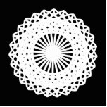 Doily. White lace circle. On Black. Cut Outs