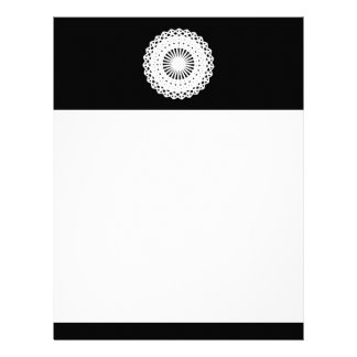 Doily. White lace circle. On Black. Personalized Letterhead