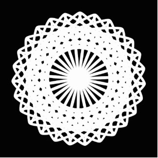 Doily. White lace circle. On Black. Acrylic Cut Outs
