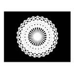 Doily. White lace circle. On Black. Postcards
