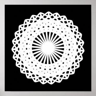 Doily. White lace circle. On Black. Poster
