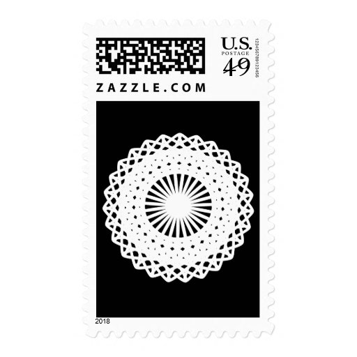Doily. White lace circle. On Black. Stamp