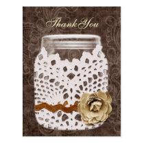 doily wrapped rustic mason jar wedding thank you postcard