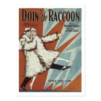 Doin' The Raccoon Vintage Songbook Cover Postcard