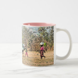 """Doing Chores"" Congo Family (Photography) Two-Tone Coffee Mug"
