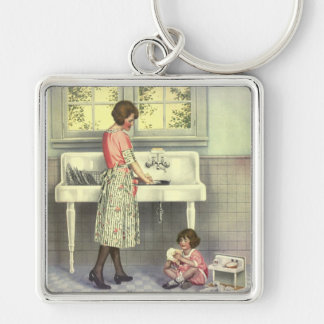 Doing Dishes Keychain