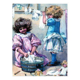 Doing Doll Laundry Postcard