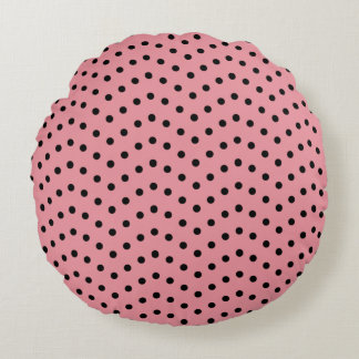 Doing The Polka Dot Wave (Black on Pink) Round Pillow