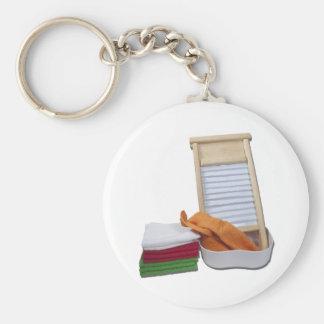 DoingLaundry112810 Basic Round Button Keychain
