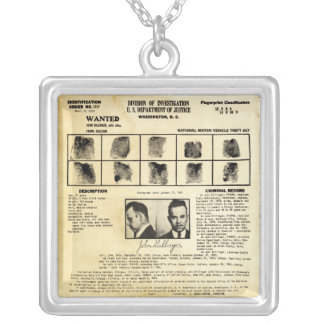 DOJ Identifcation order 1217 John Dillinger Silver Plated Necklace