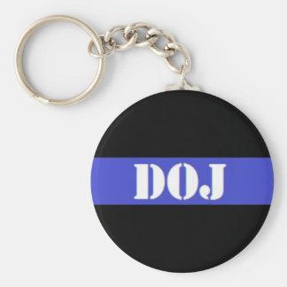 DOJ Thin Blue Line Law Enforcement Keychain