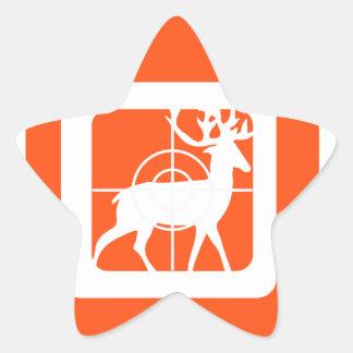 Dólar anaranjado de la caza en retículos pegatina en forma de estrella