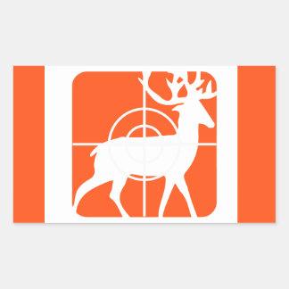 Dólar anaranjado de la caza en retículos pegatina rectangular