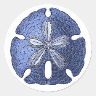 Dólar de arena azul pegatina redonda