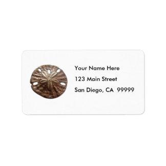 Dólar de arena de bronce etiqueta de dirección