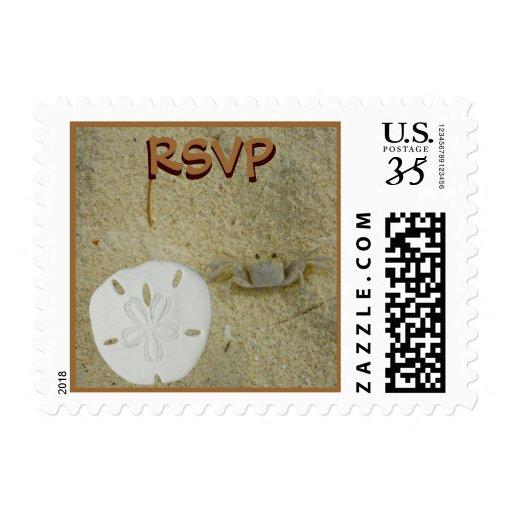 Dólar de arena de RSVP y cangrejo de la playa Timbres Postales