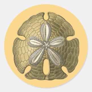 Dólar de arena del oro pegatina redonda