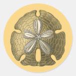 Dólar de arena del oro pegatinas redondas