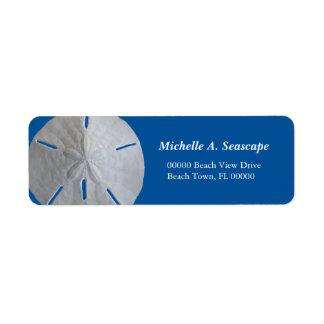 Dólar de arena en azul intrépido etiqueta de remitente