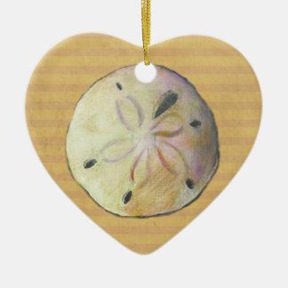 Dólar de arena para los peinadores de la playa adorno de cerámica en forma de corazón