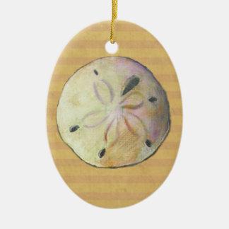 Dólar de arena para los peinadores de la playa adorno ovalado de cerámica