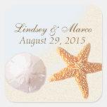Dólar de arena y playa de Shell de las estrellas d Pegatinas Cuadradas Personalizadas