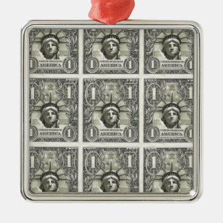 Dólar de la libertad adorno navideño cuadrado de metal