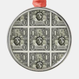 Dólar de la libertad adorno redondo plateado