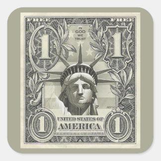 Dólar de la libertad pegatina cuadrada