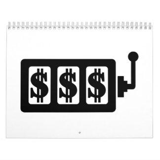 Dólar de la máquina tragaperras calendario de pared
