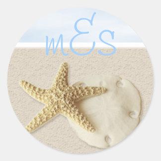 Dólar de las estrellas de mar y de arena • pegatina redonda