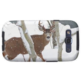 Dólar de los ciervos en nieve en invierno galaxy SIII cobertura