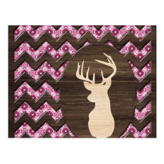 Dólar de madera rosado de los ciervos de Chevron Postales