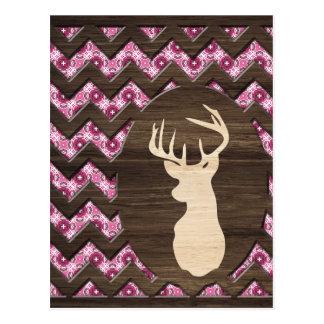 Dólar de madera rosado de los ciervos de Chevron Tarjeta Postal