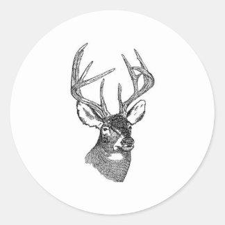 Dólar del trofeo de los ciervos de la cola blanca pegatinas redondas