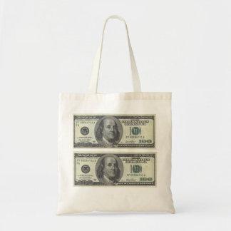 Dólar frente 100 bolsa tela barata
