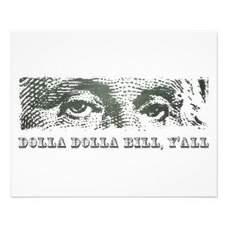 """Dólar lunes de Dolla Dolla Bill Yall George Washin Folleto 4.5"""" X 5.6"""""""