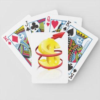 Dólar o beneficios de levantamiento baraja de cartas