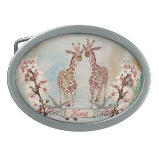 Dólar rosado de la correa de la placa de identific hebilla cinturon oval